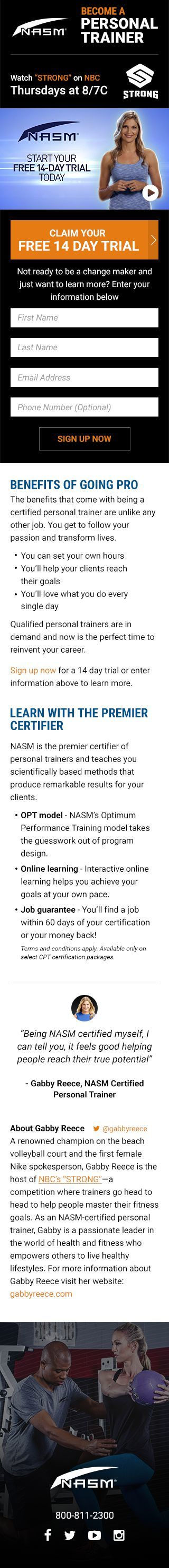 Become A Personal Trainer Watch Nasm On Nbcs Strong