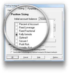 Advanced position sizing screen with kelly formula selected