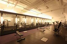 huge fitness center & pool & sauna at the Arris Lofts LIC