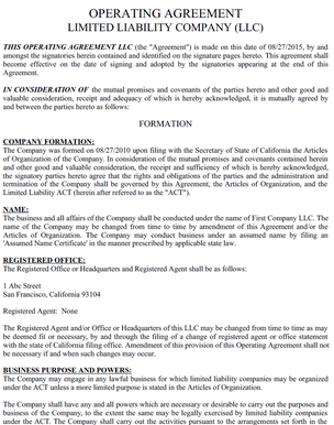 Operating Agreement - Louisiana llc operating agreement