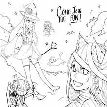 PaigeeWorld Halloween Coloring page by unknownbird