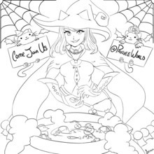 PaigeeWorld Halloween Coloring Page by secxen