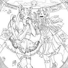 PaigeeWorld Halloween Coloring Page by Kittyblush