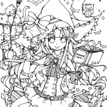 PaigeeWorld Halloween Coloring Page by @daisukeyuki