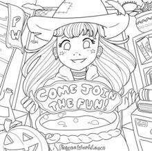 PaigeeWorld Halloween Coloring Page by Clovermint15