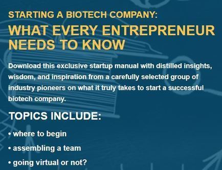 EBD Group - STARTING A BIOTECH COMPANY: WHAT EVERY ENTREPRENEUR  NEEDS TO KNOW