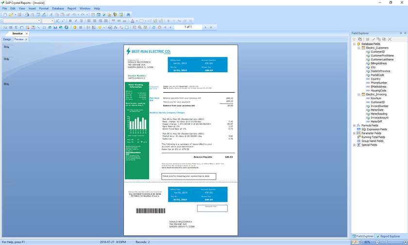 SAP Crystal Reports screenshot